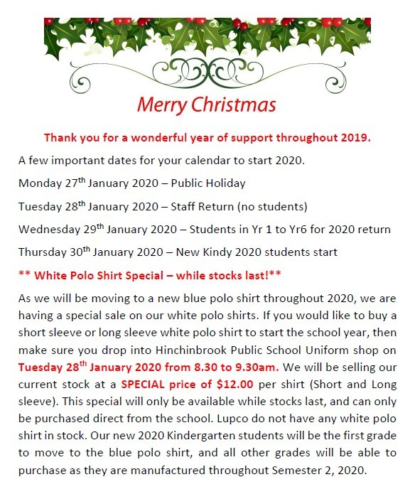 Monday 27th January 2020 – Public Holiday Tuesday 28th January 2020 – Staff Return (no students) Wednesday 29th January 2020 – Students in Yr 1 to Yr6 for 2020 return Thursday 30th January 2020 – New Kindy 2020 students start